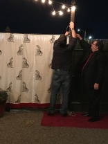 Putting up the red carpet backdrop